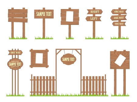 Set of wooden signs and arrows, vectorのイラスト素材