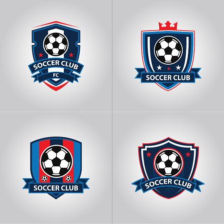 Illustration pour Soccer Football Badge Logo Design Templates | Sport Team Identity Vector Illustrations isolated on blue Background - image libre de droit