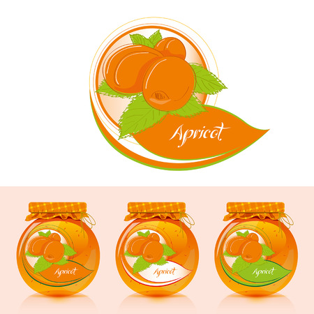 Apricot jam label with jar - Illustration