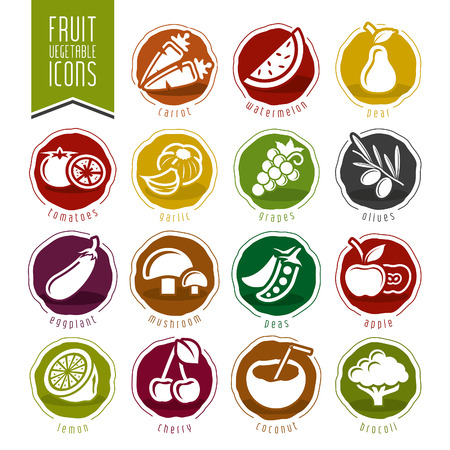 Fruit and Vegetable Icon Setのイラスト素材