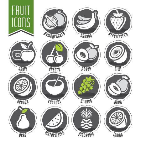 Illustration for Ready design fruit icon set - Royalty Free Image
