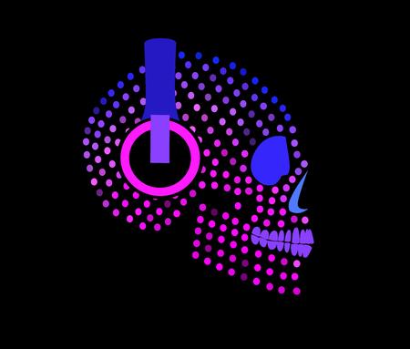 Illustration pour Sugar skull with headphones icon - image libre de droit