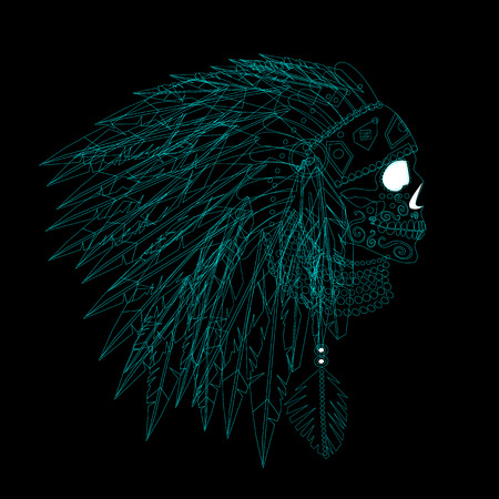 Illustration pour A skull icon wearing American Indian war bonnet neon color. Vector background - image libre de droit