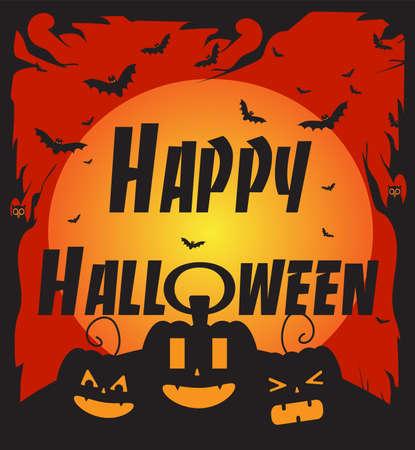 Illustration pour Happy Halloween background vector with pumpkins, bats and text - image libre de droit