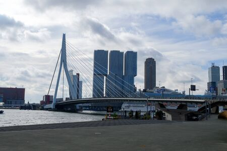 Photo pour Rotterdam, South Holland, Holland - May 5 2019: Archirecture of the city on the streets and channels, Netherlands - image libre de droit