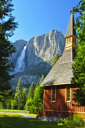Upper Yosemite Falls and Yosemite Chapel. Yosemite National Park