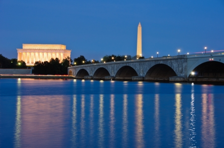 The Lincoln Memorial, Arlington Memorial Bridge and Washington Monument reflected in the Potomac River at dusk  Washington, DC