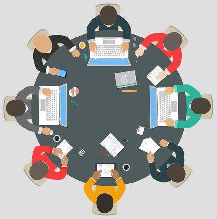 Illustration pour Teamwork for roundtable - image libre de droit