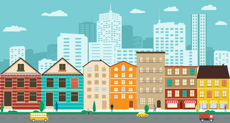 Illustration pour Town streets with views of the skyscrapers in a flat design - image libre de droit
