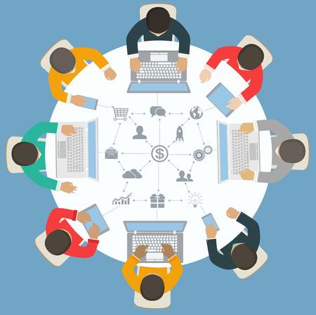 Illustration pour Teamwork for roundtable  Business strategy of success - image libre de droit