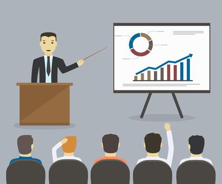 Illustration pour Businessman gives a presentation or seminar  Business meeting, training - image libre de droit