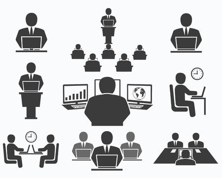 Vektor für Business people  Office icons, conference, computer work - Lizenzfreies Bild