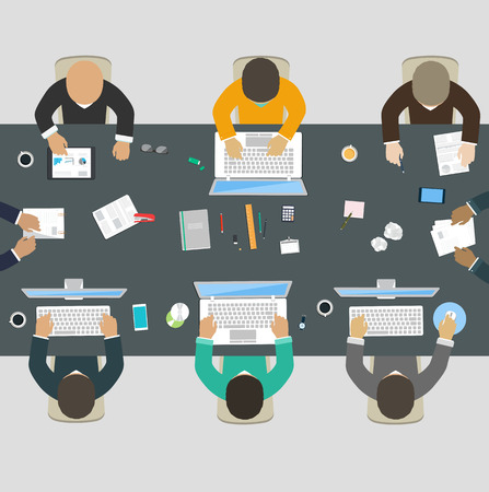 Illustration pour Group of business people working for office desk  New  idea of company, financial strategy, development of new projects - image libre de droit