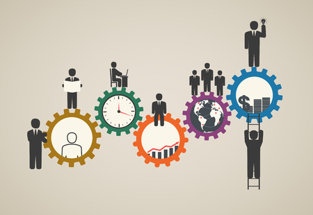 Workforce, team working, business people in motion, motivation for success, motivation of business people with icons