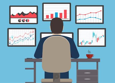 Illustration pour Workstation, web analytics information and development website statistic  - image libre de droit
