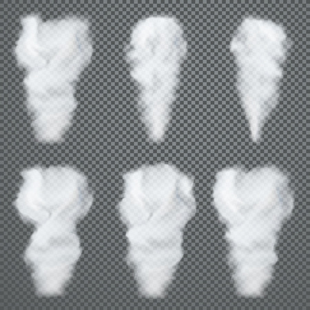 Transparent white smoke, vector set on dark background