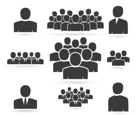 Illustration pour Crowd of people in team icon silhouettes - image libre de droit