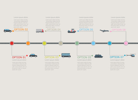 Transportation infographic timeline with stepwise numbered structure