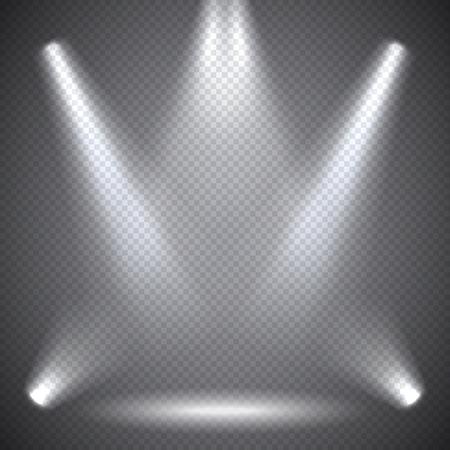 Illustration pour Scene illumination, transparent effects on a plaid dark  background. Bright lighting with spotlights. - image libre de droit