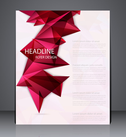Abstract business brochure flyer with geometric elements, design in A4 size, layout cover design in red colors.