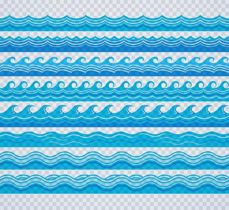 Illustration pour Blue transparent wave patterns - image libre de droit
