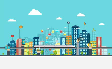 Ilustración de Smart City with business signs. Online business concept with hand phones. - Imagen libre de derechos