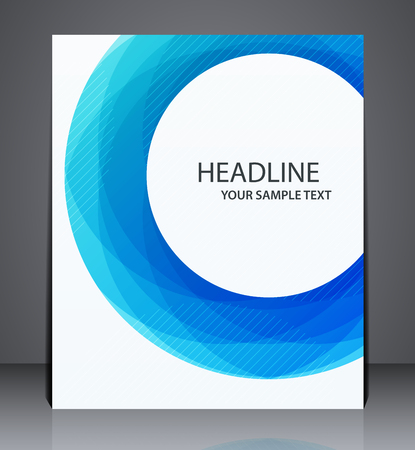 Illustration for Abstract business brochure flyer, geometric design with blue circle, in A4 size, layout cover. - Royalty Free Image