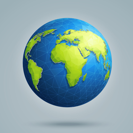 Illustration pour Polygonal 3D globe with global connections. Earth, world map. - image libre de droit