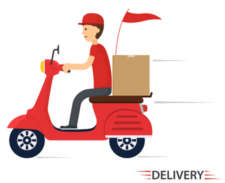 Illustration pour Delivery service on scooter, motorcycle. Fast worldwide shipping. - image libre de droit