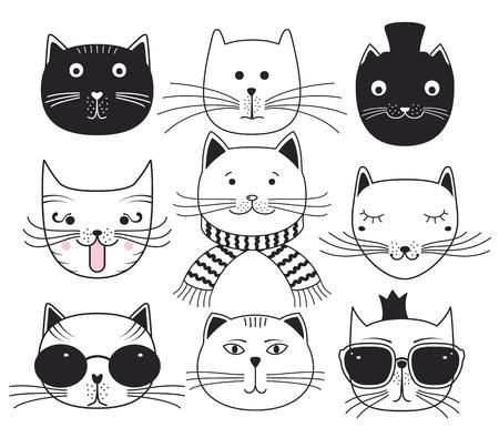 Illustration pour Cute cat heads. Set avatars pets. - image libre de droit