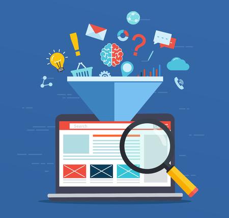 Illustration pour Web site optimization, increasing the efficiency factor of SEO, business marketing technology, social media, search engine optimization. - image libre de droit