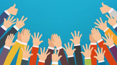 Vektor für Concept of raised up hands. Party, concept of education, business training, volunteering charity. - Lizenzfreies Bild