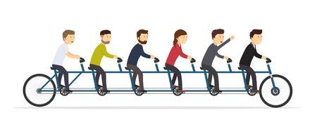 Illustration pour Business people riding on a five-seat bicycle. Team joint concept of success. - image libre de droit