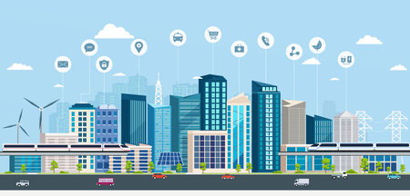 Illustration for Smart City with business signs. Online concept modern city. City landscape with transport infrastructure - Royalty Free Image