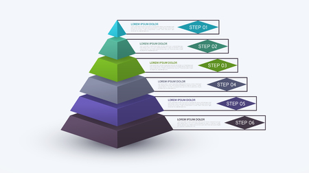 Ilustración de Infographic pyramid with step structure. Business concept with 6 options pieces or steps. Block diagram, information graph, presentations banner, workflow.  - Imagen libre de derechos