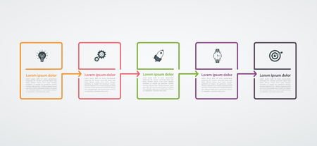Illustration pour Infographic design template with step structure. Business concept with 5 options pieces or steps. Block diagram, information graph, presentations banner, workflow. - image libre de droit