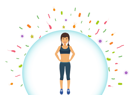 Illustration pour Sports woman reflects bacteria. Protecting immune system from bad bacteria. Barrier against viruses. - image libre de droit