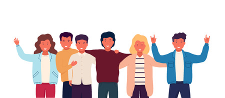 Illustration pour Group of friends embrace and stand together, group shooting, photo for memory. Company of happy teenage students, boys and girls. - image libre de droit