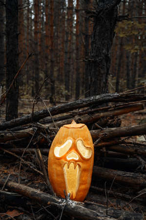 Foto de Creepy glowing Jack O Lantern pumpkin in the autumn forest at dusk. Halloween holiday background. Vertical orientation, copy space. - Imagen libre de derechos