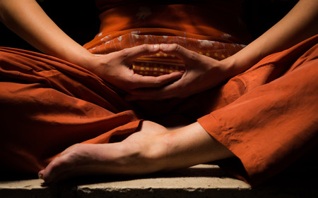 Meditation, looking for enlightenment. Mindfulness concept.
