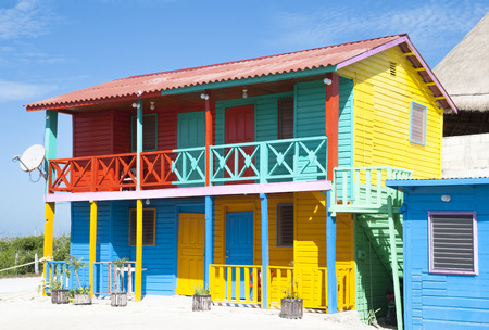 The colorfully painted house in Mexican resort town Mahahual