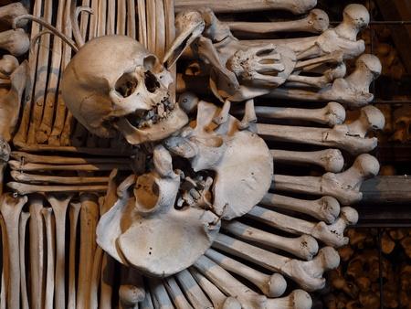 Human skull and bones  in the bone chapel in Kutna Hora, Czech Republic