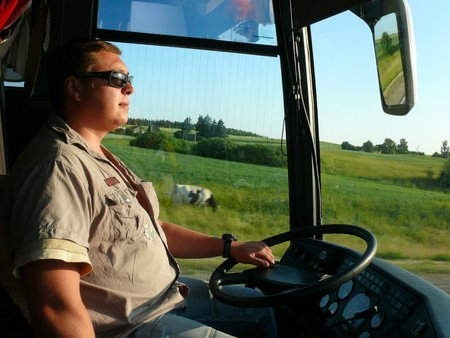 The young bus driver on the roads of Lithuania