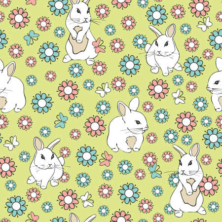 Illustration pour Seamless vector pattern with white bunnies and flowers on green background. Pink and blue flower animal wallpaper design. - image libre de droit