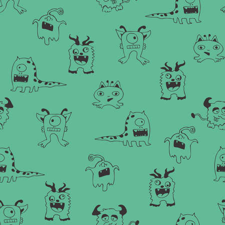 Illustration pour Seamless vector pattern with cartoon monsters on blue background. Simple comic animal wallpaper design for children. Funny character fashion textile. - image libre de droit