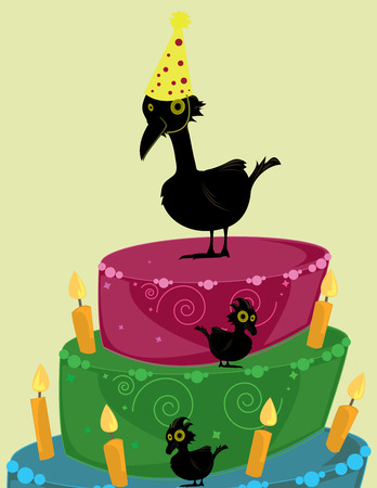 Tremendous Large And Small Black Birds On A Brightly Colored Three Tier Funny Birthday Cards Online Elaedamsfinfo