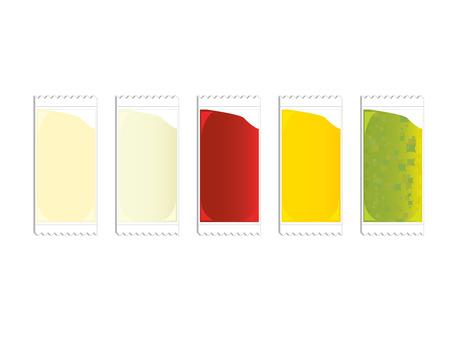 plastic packets of ketchup mustard relish and mayo