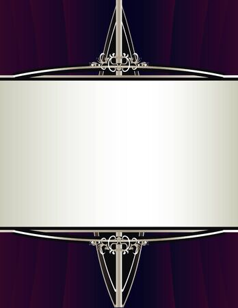 A gathered purple background with an elegant silver framing design