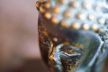 Close-up picture of the head of a buddha statue.