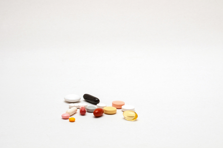 different colored tablets, isolated
